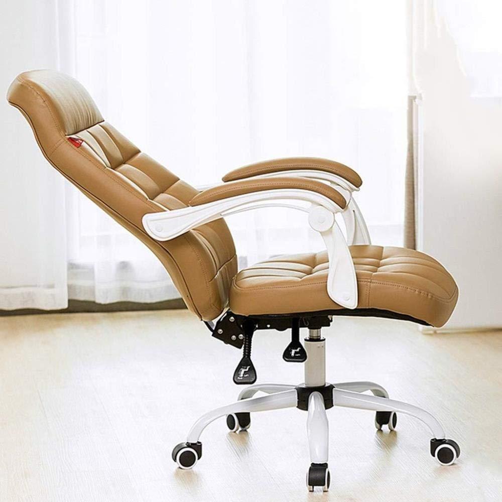 Kontorsstol LHY hem dator stol svart roterande ryggstöd pall enkel spelstol chef stol hållbar (färg: Brun) Brun