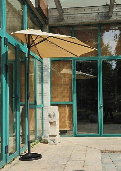 Megashopitalia - Sombrilla de Pared de Media Luna Redonda, de Madera, para Exterior, jardín, 300 x 150 cm, Color Blanco Mate: Amazon.es: Jardín