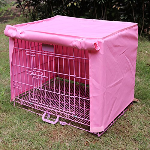 Dog Kennel Cage Covers Windbreak Waterproof Puppy Cat Wire Crate Wear Ventilation Window Open For Pets House (S, Pink) by S-LINE (Image #5)
