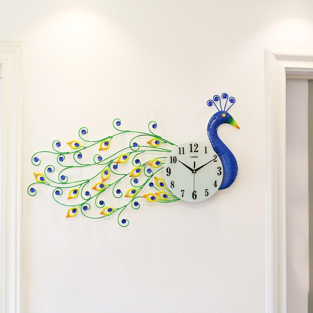 GRJH® ピーコックシンプルな創造的なヨーロッパの時計時計、リビングルームモダンな装飾電子時計のベッドルームクォーツ時計93x38cm クリエイティブファッションシンプル ( 色 : #2 ) B07CMNKKV4#2