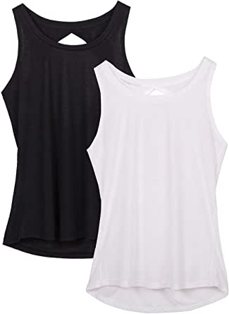 icyzone Yoga Tops Activewear Workout Clothes Open Back Fitness Racerback Tank Tops for Women