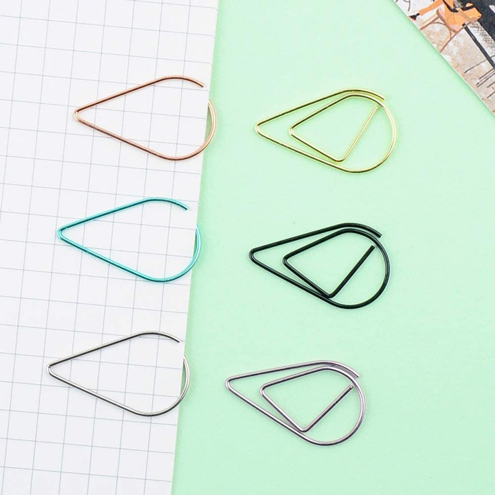 housesweet 50pcs Retro Hollow Waterdrop Shape Small Paper Clips Metal Paper Clamps for School Office Stationery