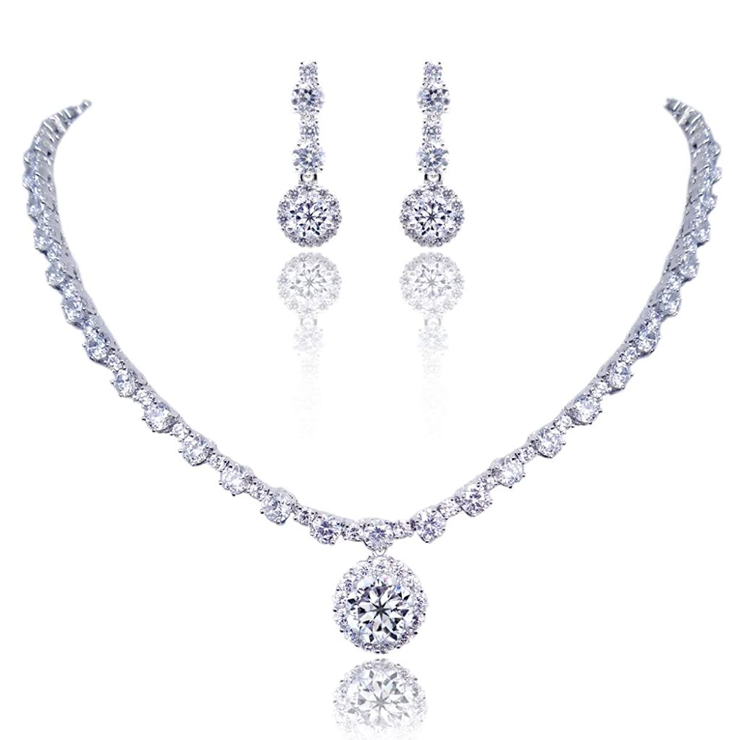 EVER FAITH® Mother's Gift Wedding Prong Clear CZ Round Necklace Earrings Set Silver-Tone