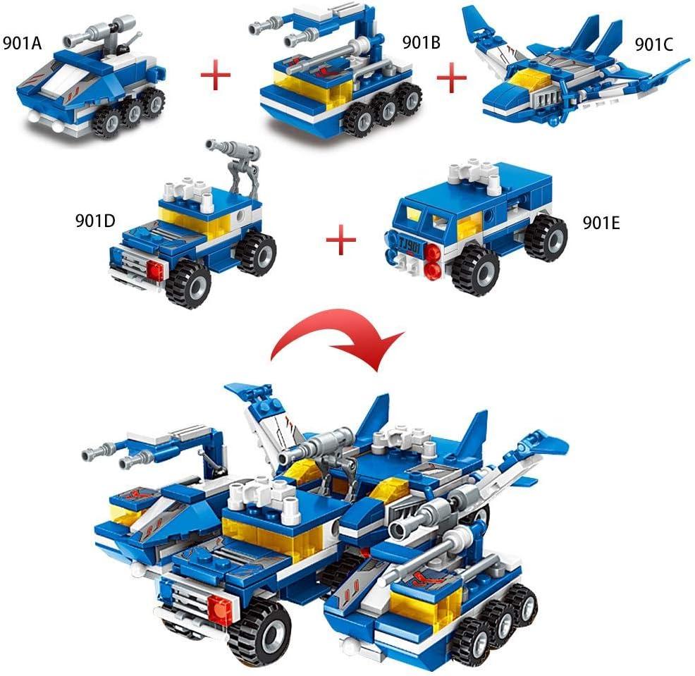 awhao-123 6 en 1 553PCS Bloques de construcción de Ladrillos para Camiones Kit de Bricolaje Rotación de Figura de Robot, Construcción Coches Aeronaves Regreso a la Escuela Juguetes High Grade: Amazon.es: Hogar