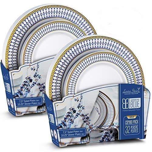 Laura Stein Designer Tableware Set of 64 White Party Plates with Blue & Gold Border/Rim Midnight Blue Includes 32-7.5'' Plates & 32-10.75'' Plates Plastic Disposable Wedding Plates & Party Plates ()