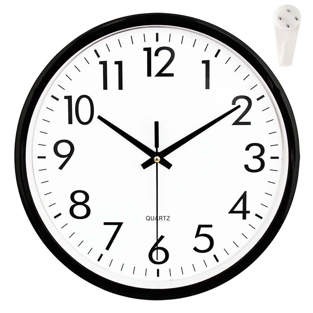 OCEST Wall Clock, 10 Inch Silent Digital Clock Non Ticking Large Display Battery Operated Decorative Quartz Clocks for Kitchen Office Patio Pool Bathroom Living Room