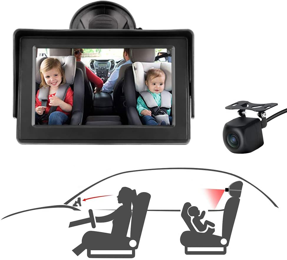 Baby Car Mirror, Baby Car Seat Mirror Camera Monitored Mirror 4.3'' HD Night Vision with Wide View Angle, Aimed at Baby,Mirror for Baby Car Seat Rear Facing