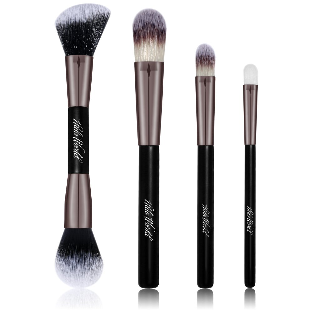 Halo World 4 Piece Makeup Brush Set Eye Face Foundation Blush Brush with Flower Pattern PU Case (black)