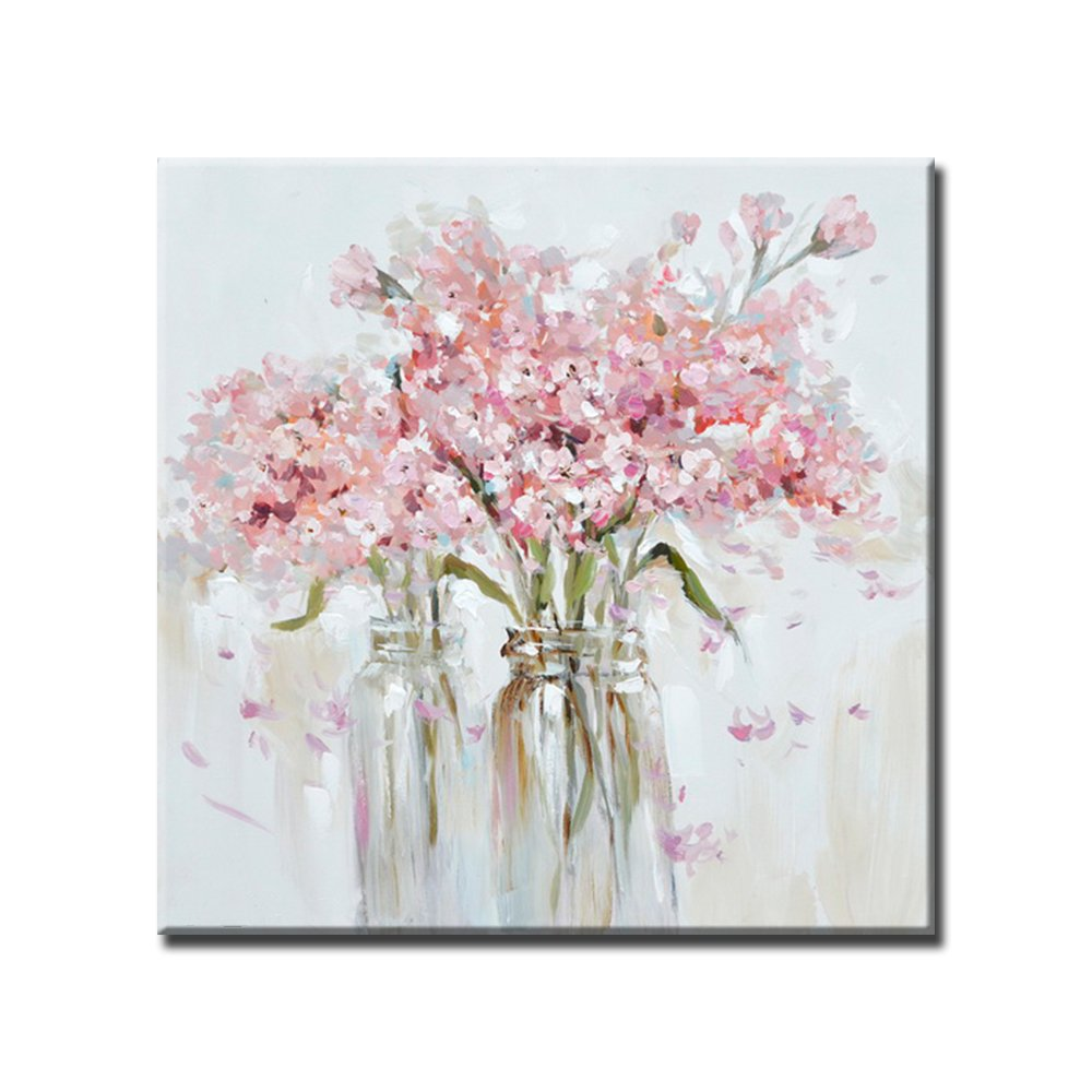 Libaoge Hand Painted Vase Pink Flower Floral Oil Painting on Canvas with Wood Frame, Modern Home Wall Decoration Artwork Ready to Hang