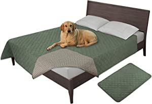 Easy-Going 100% Waterproof Dog Bed Cover Furniture Protector Sofa Cover Non-Slip Washable Reusable Incontinence Bed Underpads for Pets Kids Children Dog Cat(52x82 in,Greyish Green)