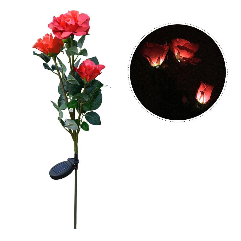 Mlec Tech 1PC 3 Têtes Fleur Lumière en Forme de Rose Artificielle Décoration de Cour et de jardin Pelouse Lumières LED Solaires Décoratives pour Extérieur Jardin