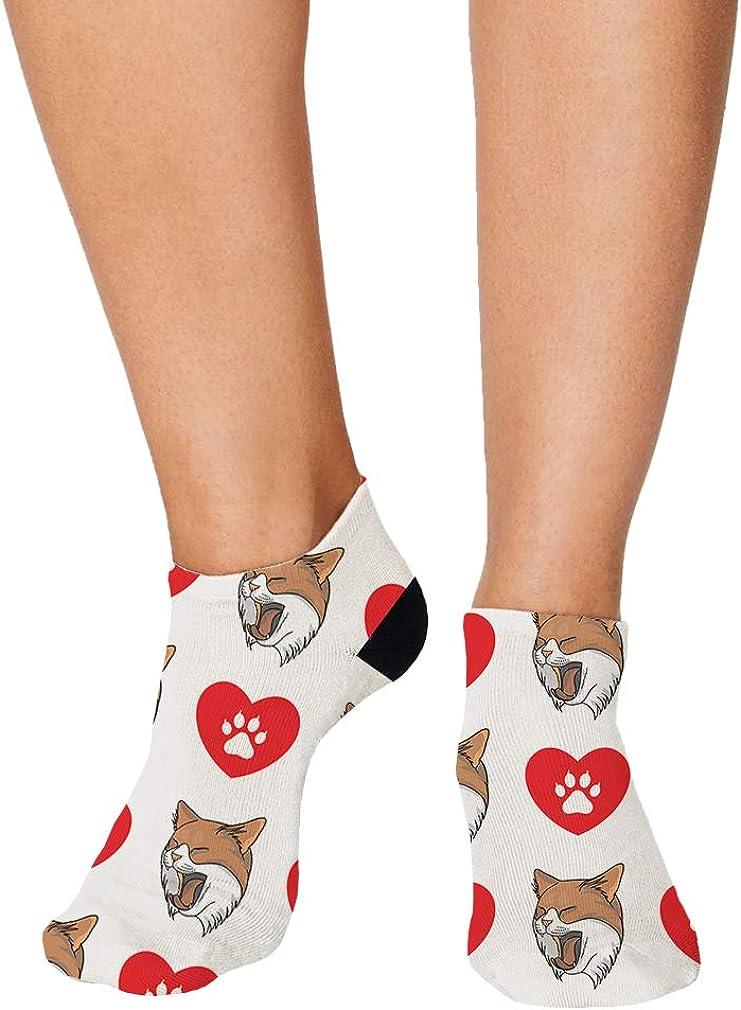 Domestic Longhair Cat Head Cat Pattern #4 Men-Women Adult Ankle Socks