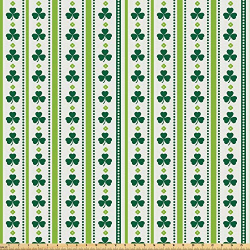 Ambesonne Floral Fabric by The Yard, Clovers Vertical Lines and Dots Irish Traditional Floral Pattern, Microfiber Fabric for Arts and Crafts Textiles & Decor, 1 Yard, Lime Green Dark Green White