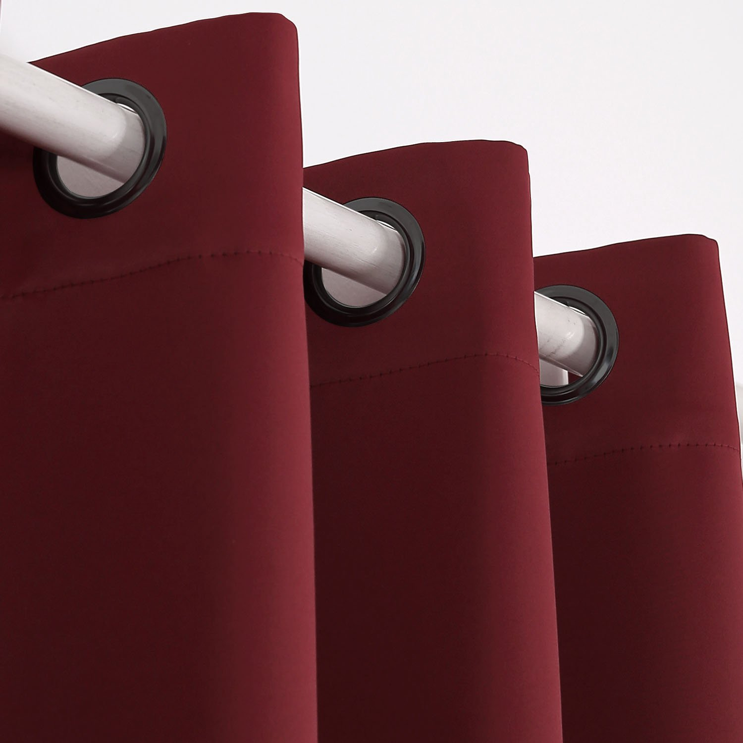 Deconovo Window Curtains Blackout Wide Curtains Grommet Curtains Dark Red