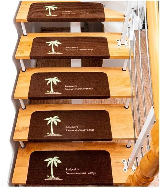 TSTLCLLMZ Peldaños de Alfombra de Escalera Alfombrillas Autoadhesivas de patrón de árbol de Coco, peldaño de Escalera Antideslizante - Reduce el Ruido Ruido Lavable Marrón 5 Piezas: Amazon.es: Hogar