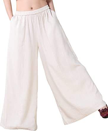 AmaSells Womens Pants Solid Color Cropped Trousers Elastic Waist Trunks Large Size Wide Leg Pants
