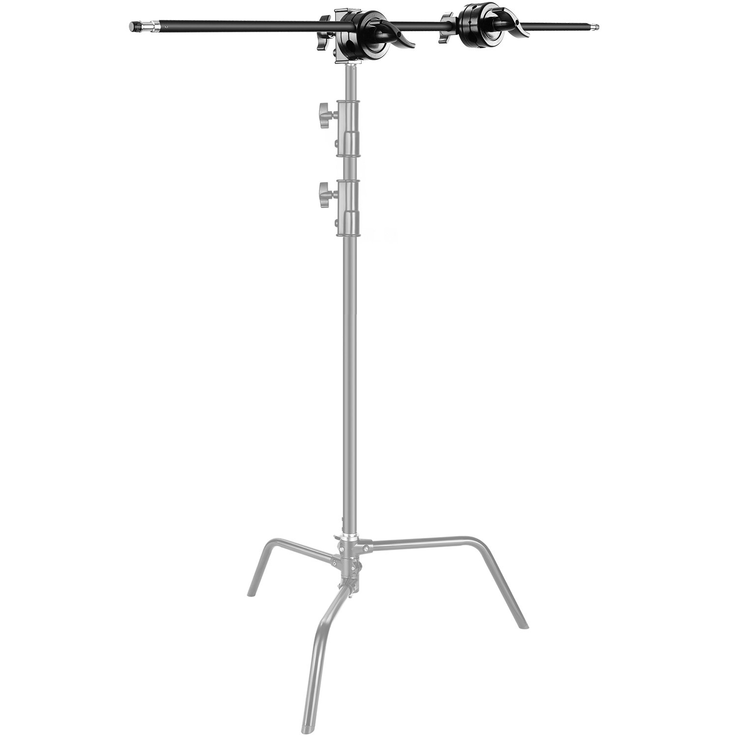 Neewer Extension Grip Arm Boom Arm with 2 Pieces Grip Heads - 42 inches/107 centimeters Aluminum Alloy Construction for Light Stand,Reflector and Other Equipment for Studio Video Photography(Black)
