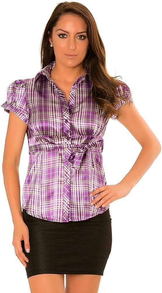 fashion boutik - Camisa Satinada a Cuadros con cinturón Desmontable para Mujer, Sexy, a la Moda Morado 36: Amazon.es: Ropa y accesorios