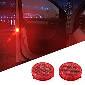 1797 Car Door LED Warning Light Bulb Red Dash Emergency Strobe Safety Lights for Trucks Vehicles Reflector Bar Kit Battery Lamps Accessories Parts Waterproof Wireless Universal Magnetic 12V (2PCS)