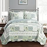 Brea Queen Size, Over-Sized Coverlet 3pc set, Luxury Microfiber Printed Quilt by Royal Hotel