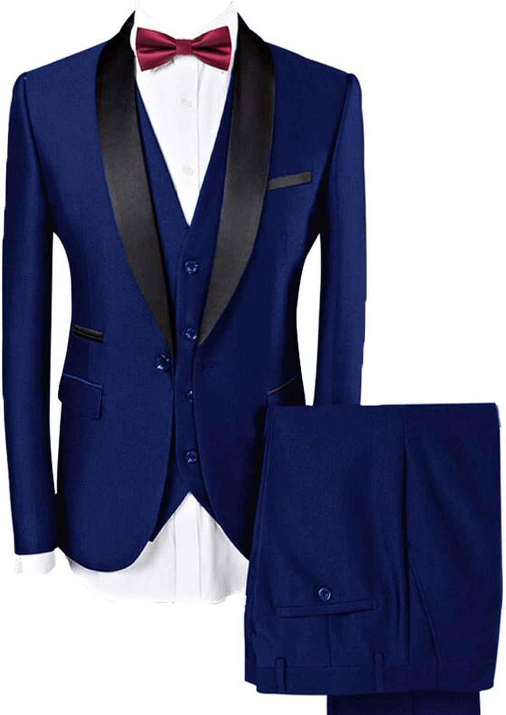 LILIS Men Suit Wedding Suits for Men Shawl Collar 3 Pieces Slim Fit Tuxedo Jacket Pants Vest Set