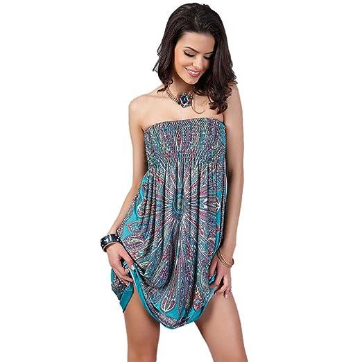 Oucan Bohemian Women Dress Vintage Ropa Mujer Print Beach Summer Dress Vestidos