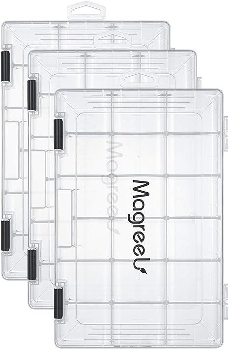 Magreel Caja de señuelos de Pesca Caja de Aparejos de Pesca Bandeja de Plástico Transparente Organizador de Almacenamiento para Pesca, Aparejos: Amazon.es: Deportes y aire libre