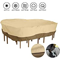 JYQcatd Patio Table Cover, Weather-Resistant 600D Oxford Patio Table and Chair Covers, Waterproof Durable Dust-Proof Anti-UV Patio Dining Set Cover,128x82x23in