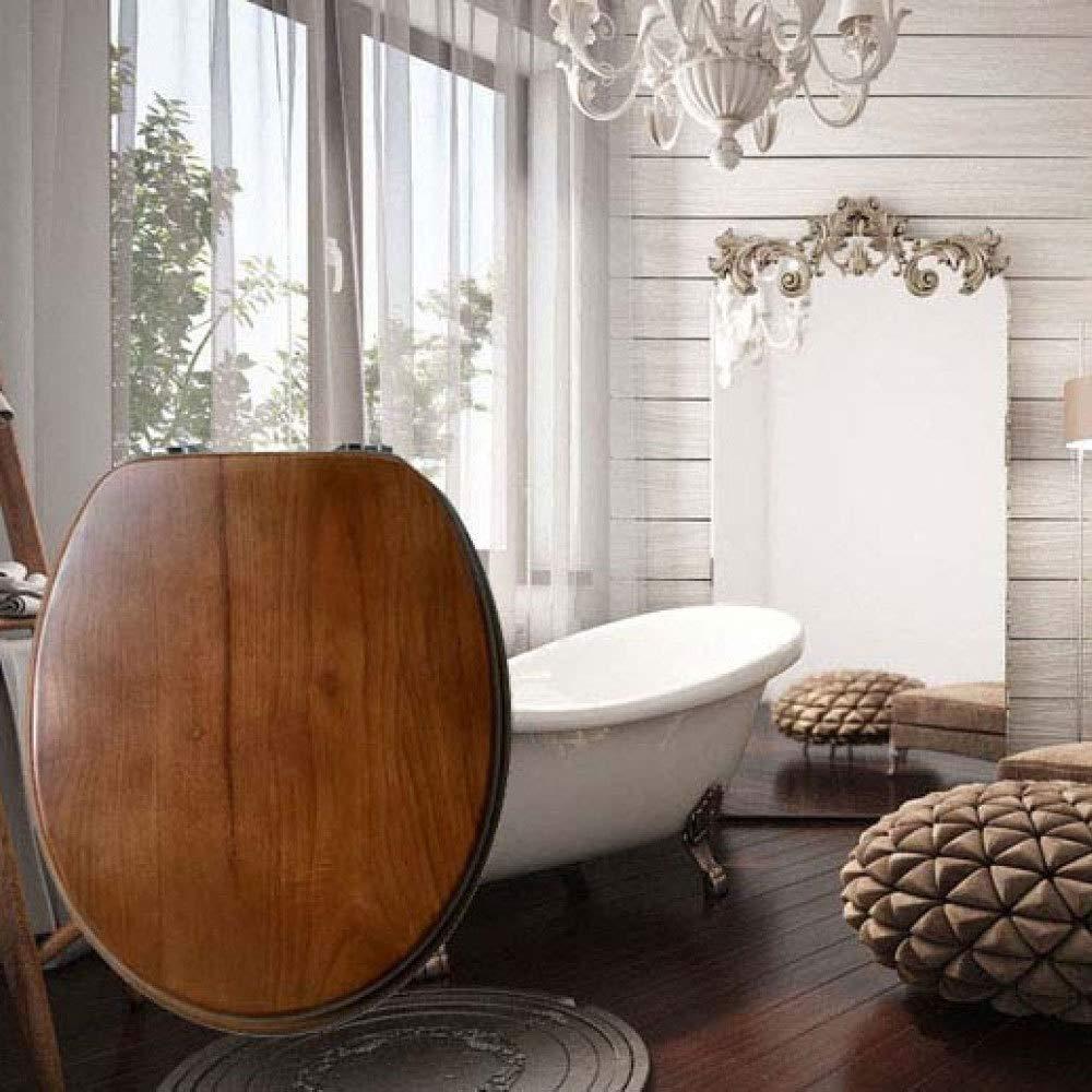 S-graceful Sedili WC Legno Massiccio Sedili WC con Cerniera Regolabile Quick Release Top Coprivaso Fisso Copriwater per Bagno V//U//O Universale Forma Gabinetto,OneColor-40~47cm*36~38cm