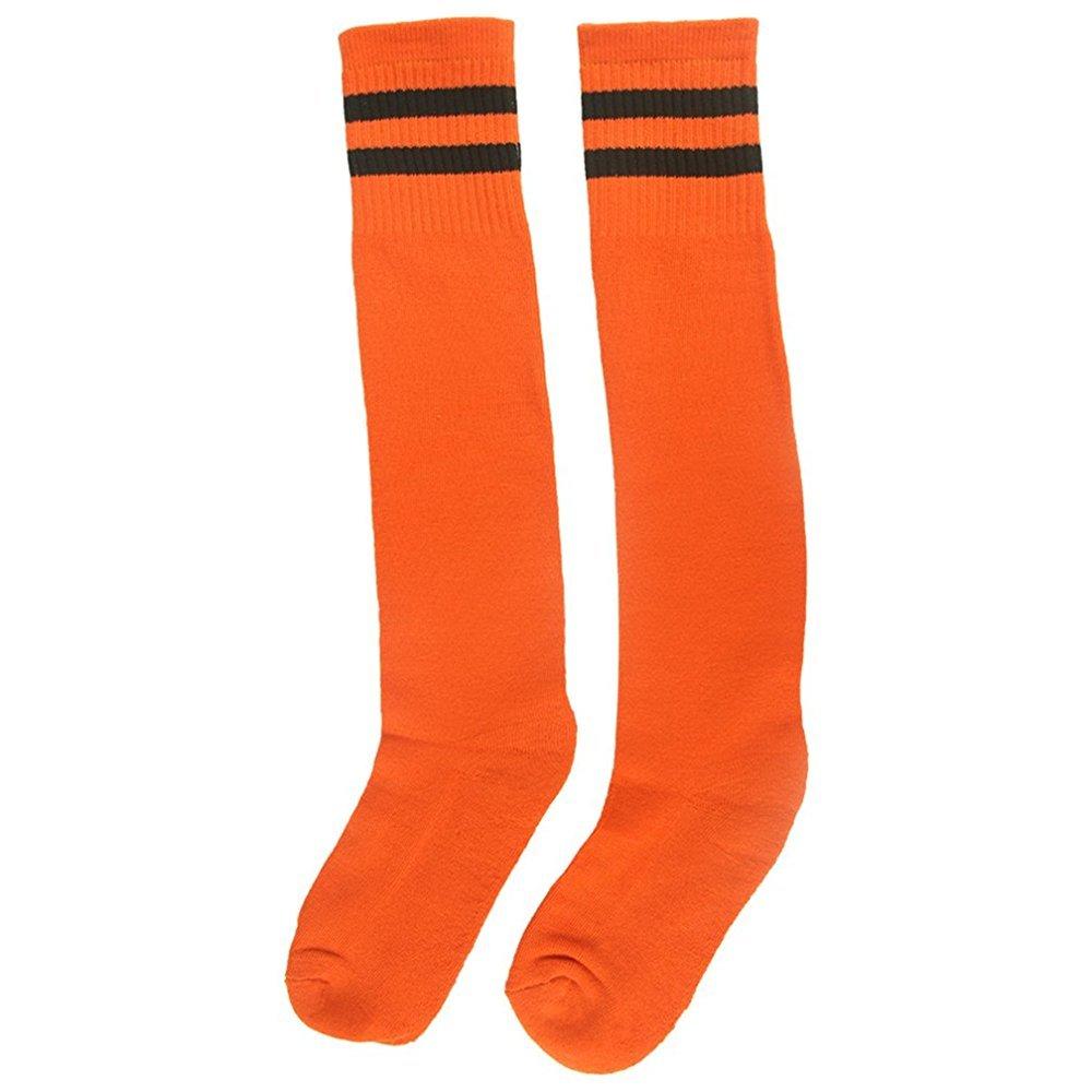 SUPOW Unisex Breathable Cotton Knee High Long Stripe Football Sports Tube Socks Children Sport Socks Kids Teens Soccer Baseball Rugby Cotton Knee High Sock