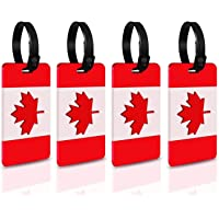 Canada Flag Canadian Flag Maple Leaf Luggage Tags With Full Back Privacy Cover W//Steel Loops