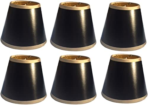 Upgradelights Black with Gold Trim 5 Inch Chandelier Shade 3x5x4 Set of 6