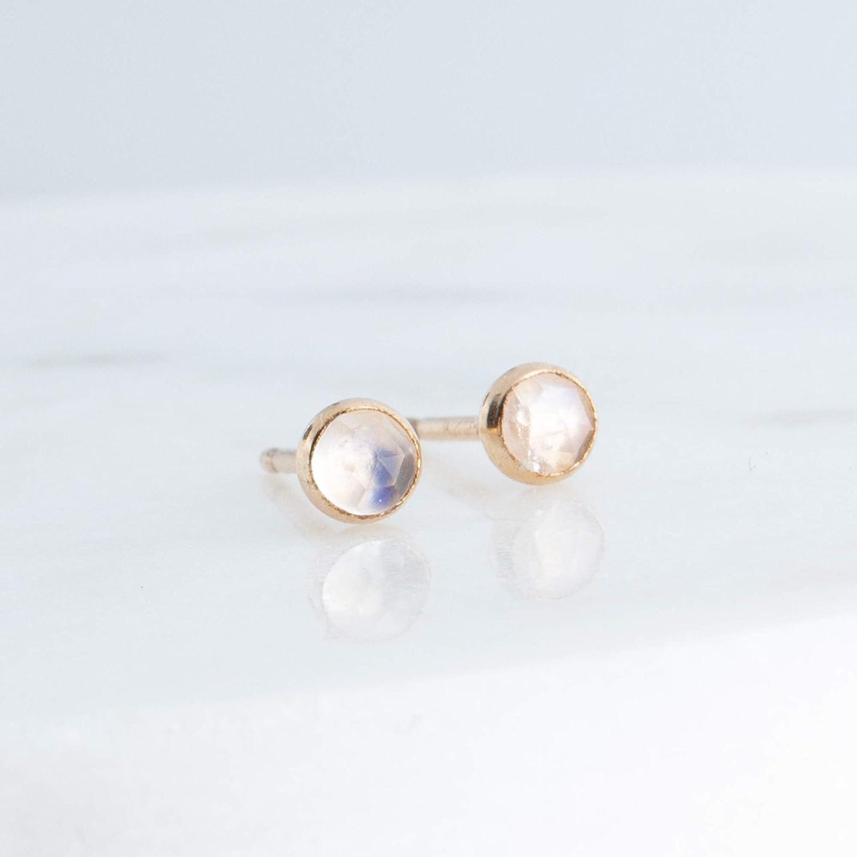 Tiny gold moonstone studs