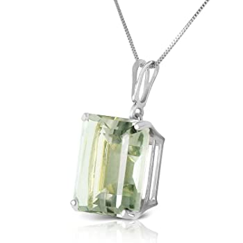 6.5 Carat 14K Solid White Gold Necklace Octagon Green Amethyst with 20 Inch Chain Length