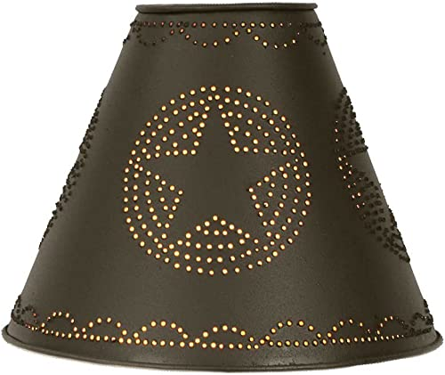 4 x 10 x 8 Punched Tin Star Lamp Shade in Rustic Brown