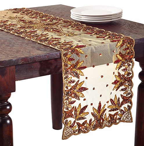 SARO LIFESTYLE NTB01 Hand Beaded Design Table Runner, 16