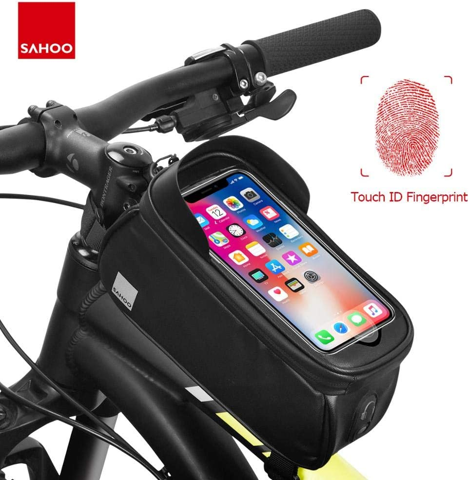 Nobody know Sahoo 122053 Cycling Bicycle Waterproof Touchscreen Front Frame Top Tube Bike 6.5in Cell Mobile Phone Bag Pannier Pack Holder