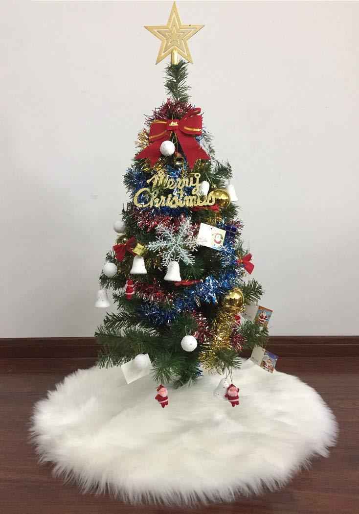 MOJUN 60cm//23.6 Christmas Tree Skirt Luxury Faux Fur Plush Tree Skirt Xmas Tree Ornaments Christmas Holiday Decor