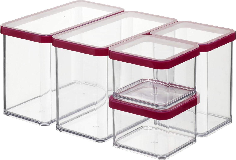 Rotho Premium Loft Juego de 5 frascos de almacenamiento, de plástico (sin BPA), transparente / rojo, varios tamaños
