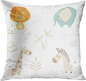 Vooft Throw Pillow Covers Square 18 x 18 Inch Hot Animal Lion Carnival of Cute Animals Bohemia Decor Cushion Home Sofa Living Room