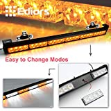 Ediors 27Inch High Intensity 24 LED 13 Flash Modes Traffic Advisor Emergency Warning Vehicle Strobe Light Bar Kit With Exclusive Large Secure Suction Cups - Amber/Yellow