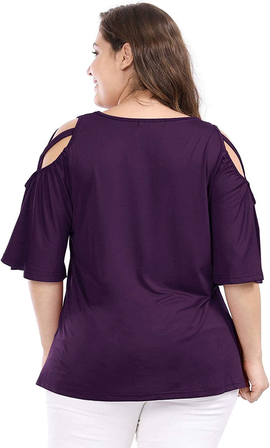 uxcell Womens Plus Size Strappy Cold Shoulder Trumpet Sleeves Top