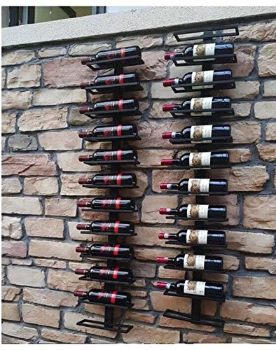 Vintage View Wall Mount Wine Rack for Magnum and Champagne Bottles (Holds 8 Bottles) (Black)