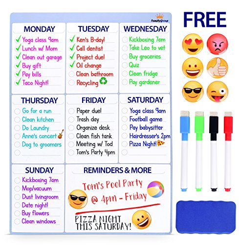 "Magnetic Dry Erase Board For Fridge - Weekly Planner Calendar Whiteboard. BONUS 6 Emoji Magnets + 4 Color Markers + Eraser By FamilyGroup. Kids Organizer List For Kitchen Refrigerator 16""x12"" White"