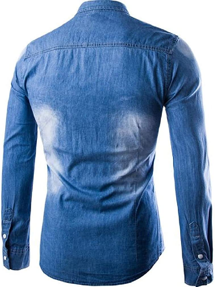 Sweatwater Mens Button Front Long Sleeve Distressed Casual Ripped Hole Denim Shirt