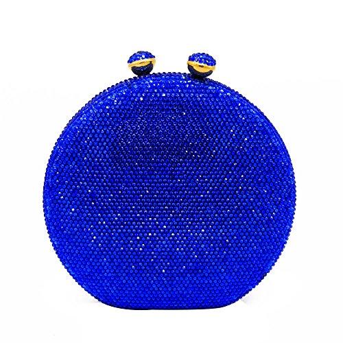 Round Circular Women Blue Crystal Clutch Bag Evening Handbags and Purses ()