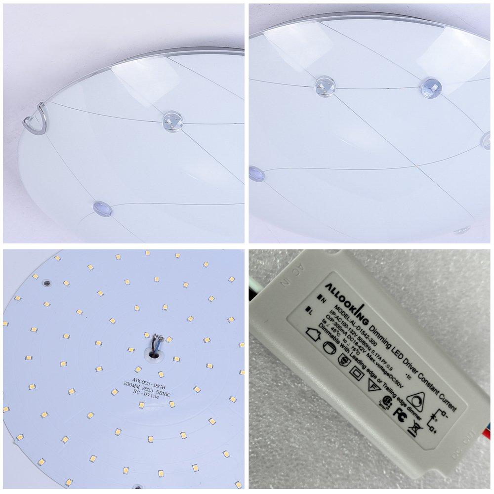Modern Minimalist LED Ceiling Light,K9 Crystal+Glass+Metal Flush Mount Light Fixture Dimmable Chandelier Lighting for Living Room Bed Room,Kitchen,Hallway 11.8 Inch 4000K Daylight White 1320LM