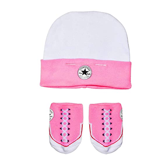 Converse Baby girl 3 er gift set Body Beanie Socks pink One