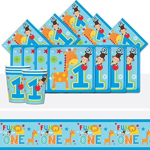 Wild Fun To Be One Blue Boy's 1st Birthday Complete Party Tableware Pack For 8