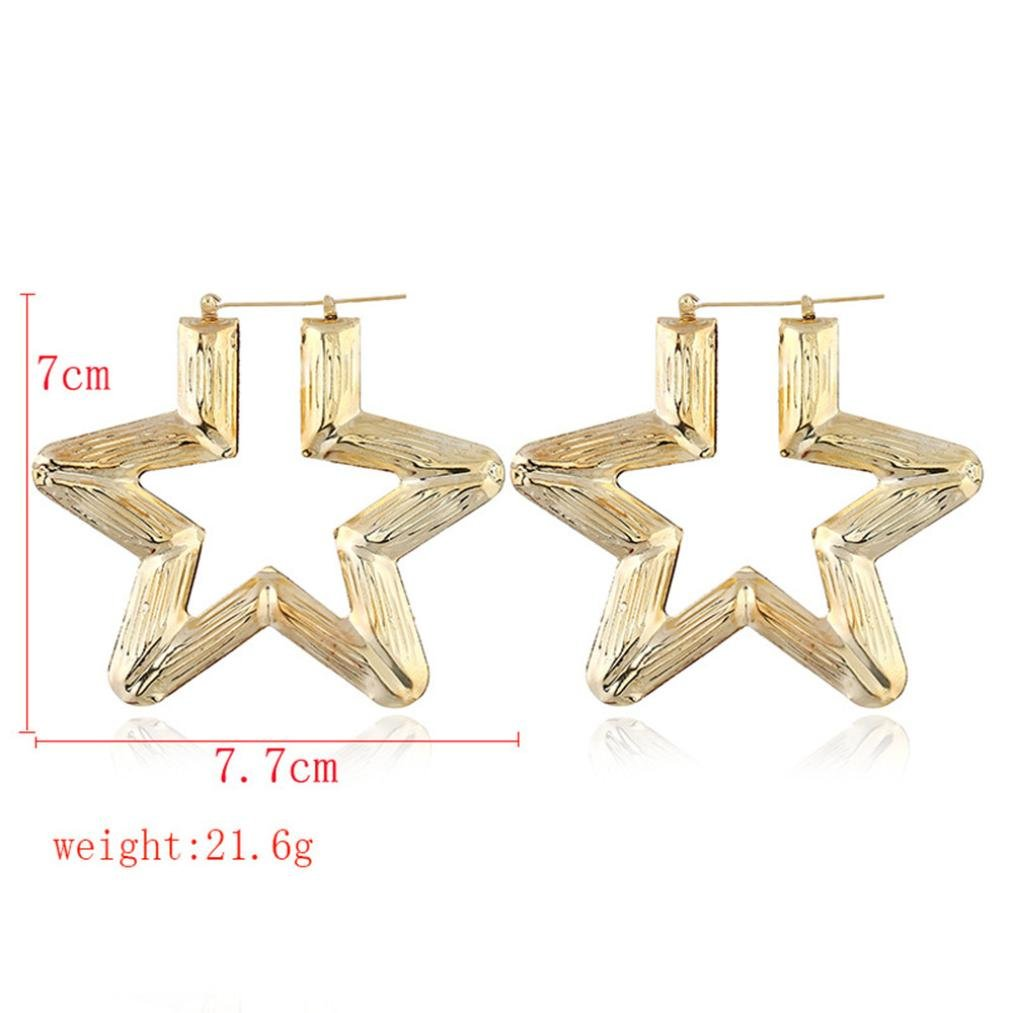 Topgee 1 Pair Fashion Alloy Plating Geometric Exaggerated Big Round Earrings for Girls